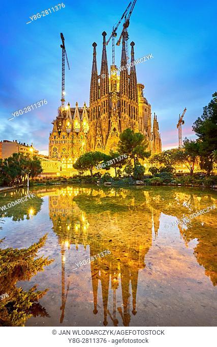 Sagrada Familia design by Antoni Gaudi, Barcelona, Catalonia, Spain