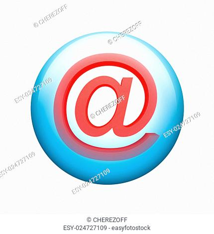 E-mail symbol. Spherical glossy button. Web element