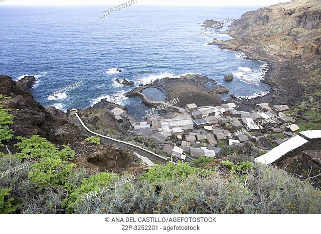 Aerial view over Pozo de las Calcosas, old village in El Hierro Canary islands Spain