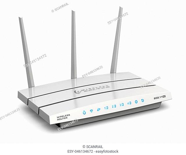 Creative abstract computer networking technology and PC web telecommunication business concept: 3D render illustration of modern white broadband internet router...