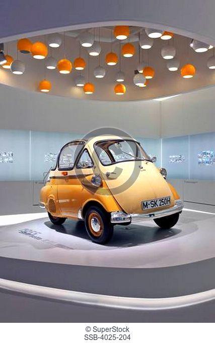 BMW Isetta on display in a museum, BMW Museum, Munich, Bavaria, Germany