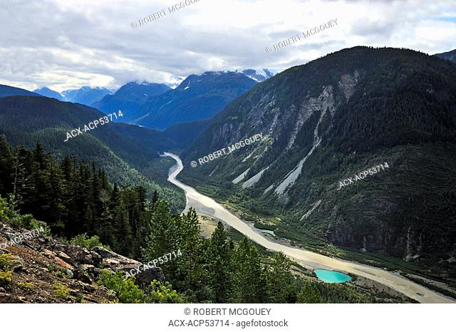 View of Salmom River Valley, British Columbia, Canada and on to southern Alaska U.S.A