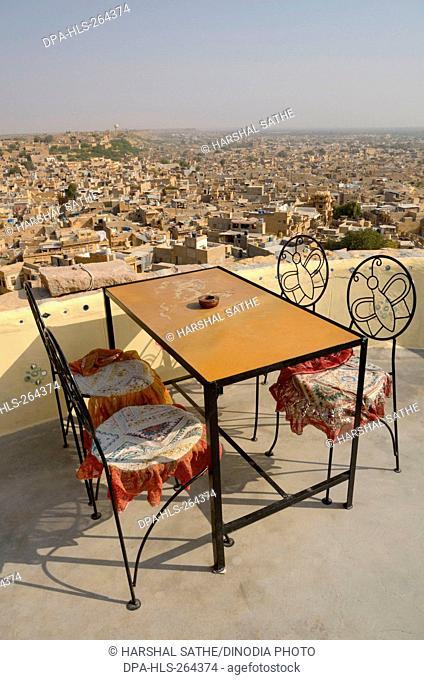 Terrace restaurant table chairs, Jaisalmer, Rajasthan, India, Asia