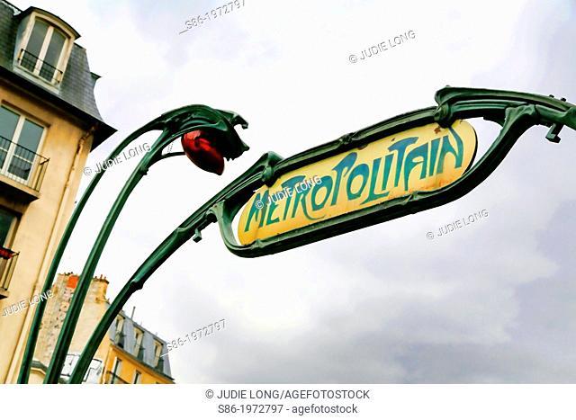 Paris, France, Metropolitain Art Nouveau Sign in the Montmartre Area