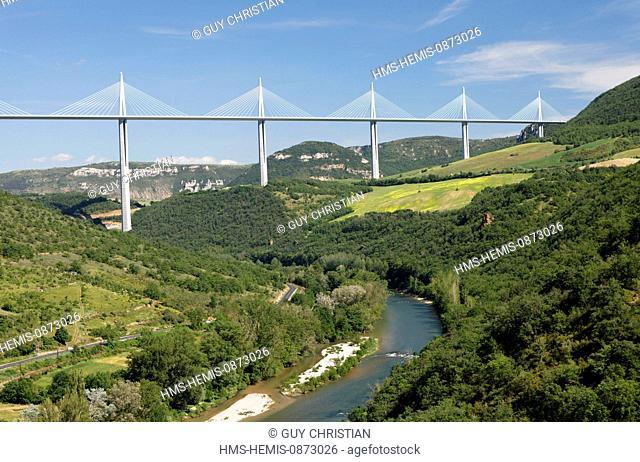 France, Aveyron, Parc Naturel Regional des Grands Causses (Natural regional park of Grands Causses), the Millau Viaduct (A75)
