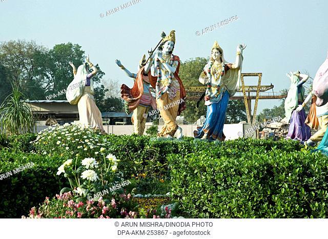 Radha krishna statue in garden, prem temple, mathura, uttar pradesh, india, asia