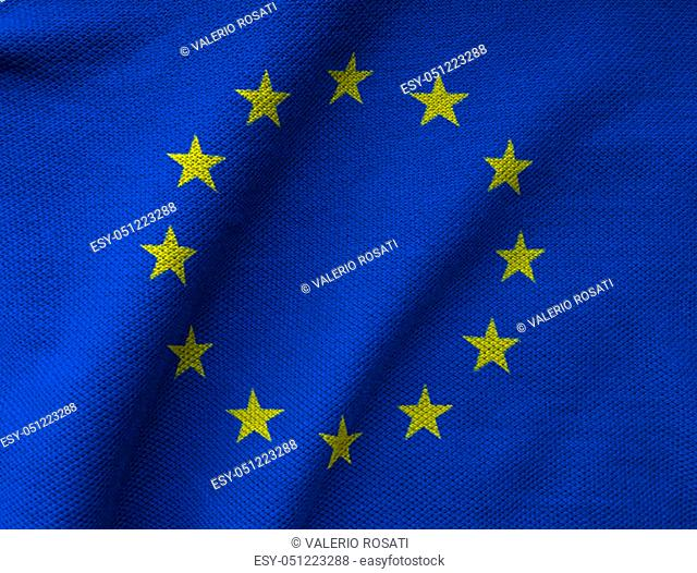 the EU flag printed on a textured Jersey knit fabric. European Union background