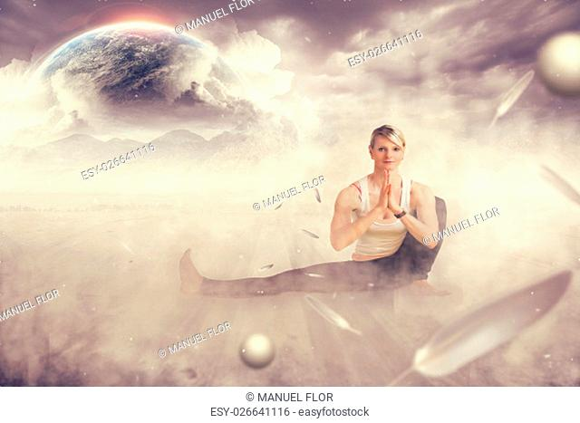 yoga woman does pose in front and the earth in fog on a komposing
