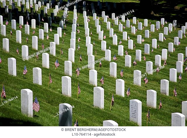USA, VA, Arlington.  Gravestones at Arlington National Cemetary