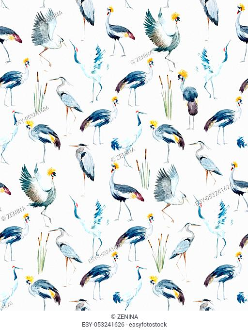 Beautiful pattern with nice hand drawn watercolor african crowned cranes