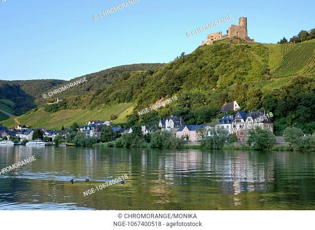 View of the Moselle and Bernkastel, in the background the ruins of Burg Landshut castle, Bernkastel Kues, Middle Moselle region, district Bernkastel Wittlich