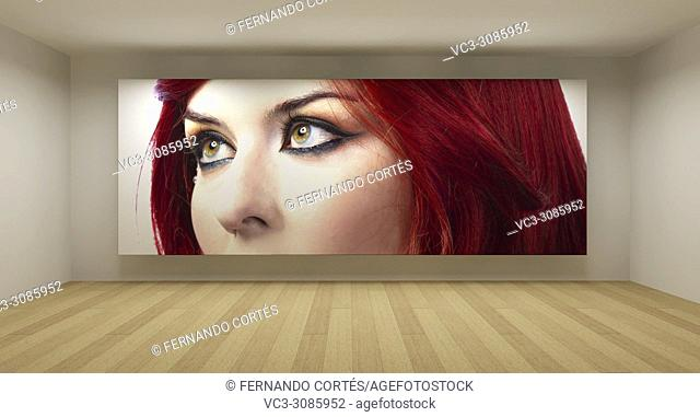 Empty room with girl picture, art gallery concept, 3d illustration