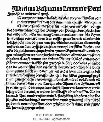 German translation of the letter of the Italian navigator Amerigo Vespucci on the third of his journeys to the newly discovered