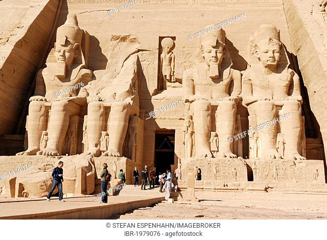 Statues of Pharaoh Ramses II at the Great Temple, Abu Simbel, Nubia, Egypt, Africa