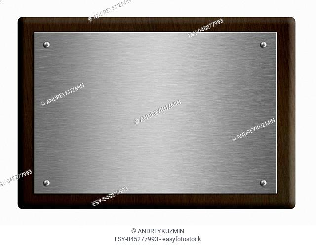 Wooden dark frame award plaque with silver plate isolated on white