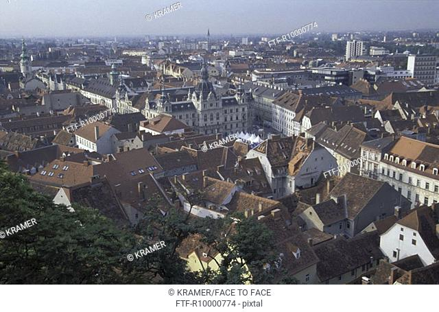Austria, Graz, view to the city centre from the Schlossberg