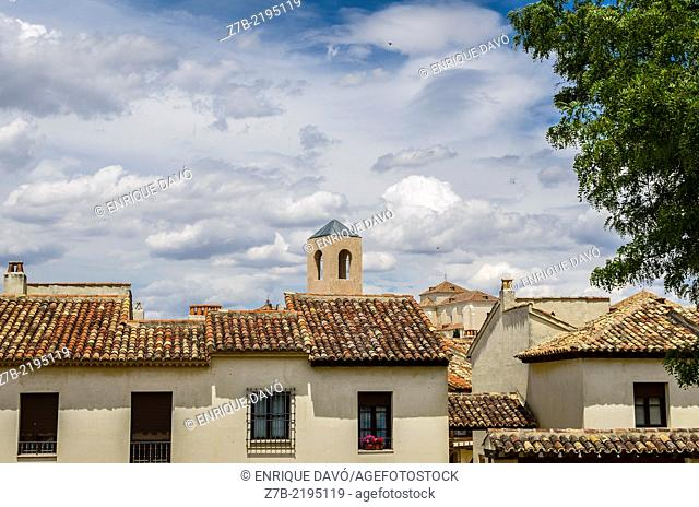 View of a houses in the Chinchon village, Madrid province, Spain