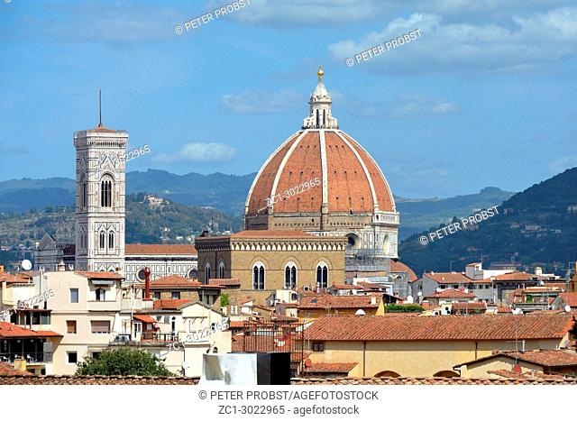 View from the Boboli Gardens to the Cathedral of Santa Maria del Fiore and the Giottos campanile of Florence - Italy
