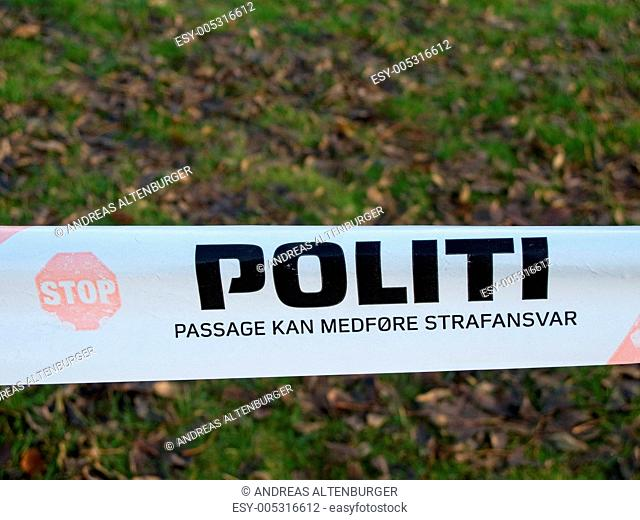 Danish police barrier sign