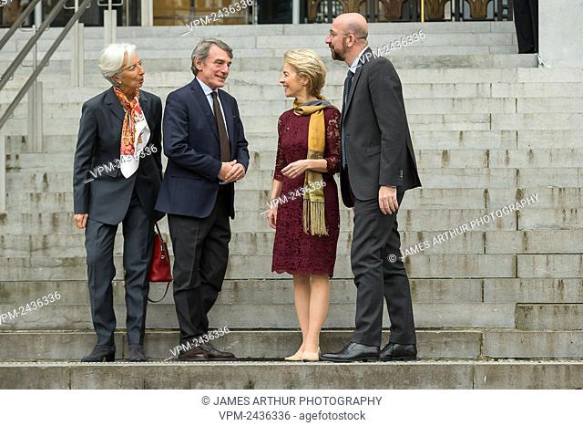 European Central Bank President Christine Lagarde, David Sassoli, New European Commission President Ursula Von der Leyen and European Council President Charles...