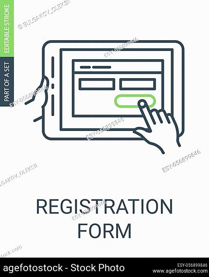 Registration Form Icon with Outline Style and Editable Stroke. Hands Holding Electronic Pad with Order or Registration Form