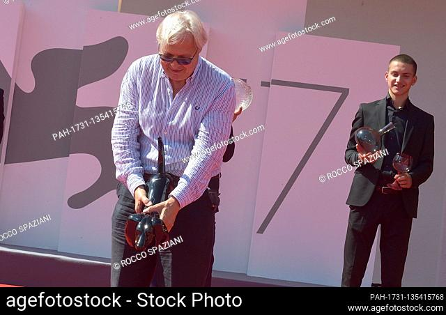 VENICE, ITALY - SEPTEMBER 08: Vittorio Sgarbi The art critic and member of the Italian parliament walks the red carpet together with entrepreneurs from Murano...