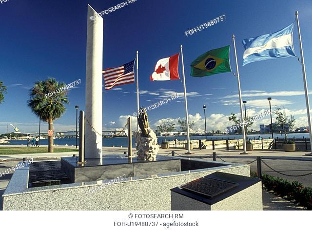 Miami, FL, Florida, Atlantic Ocean, Liberty Column at Bayfront Park along Biscayne Bay in downtown Miami