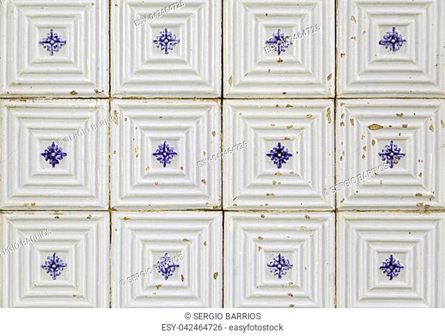 Typical decorative tiles, antique tiles detail Lisbon, art and decoration