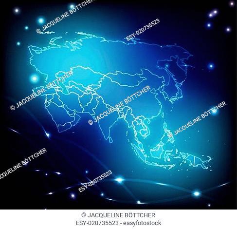 Karte von Asien mit Grenzen in leuchtenden Farben