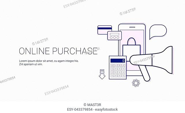 Online Purchase Mobile Shopping Technology Concept Banner With Copy Space Thin Line Vector Illustration