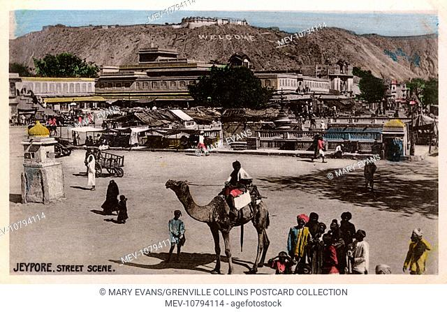 Jaipur, Rajastan, India - General Street Scene with view toward the Nahargarh Fort on the edge of the Aravalli Hills