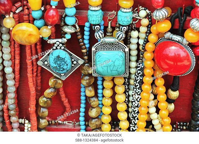 Traditional Tibetan accessories for sale on the street. Mcleod ganj, Dharamshala, Himachal Pradesh, India