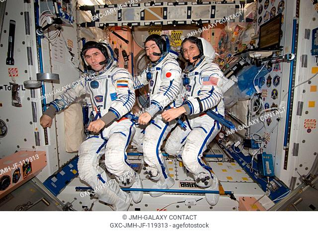 In the International Space Station's Unity node, NASA astronaut Sunita Williams, Expedition 33 commander; along with Japan Aerospace Exploration Agency...