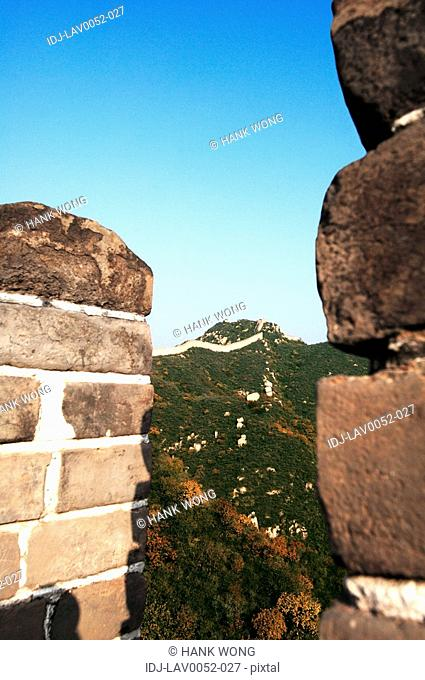 View of mountains from a historic wall, Great Wall Of China, China