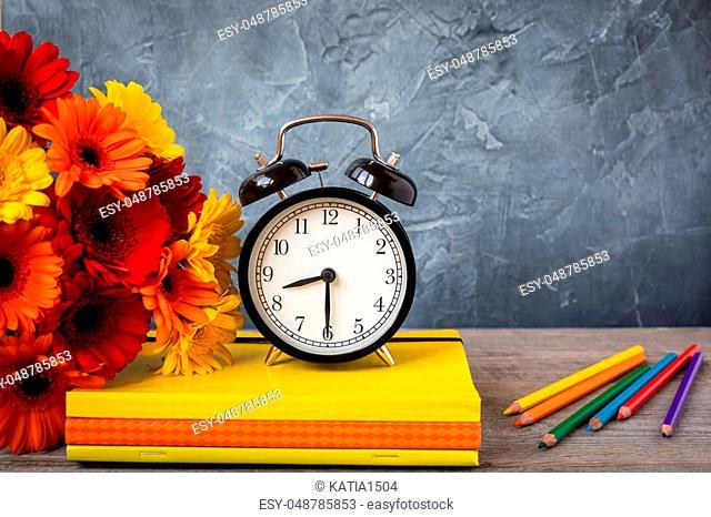 1 September concept postcard, teachers day, back to school, supplies, alarm clock, toned vintage