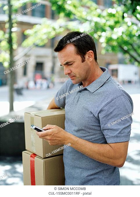 A courier delivers parcels