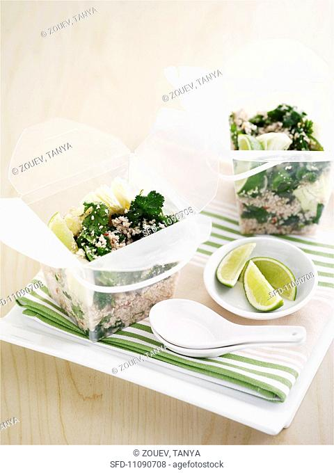 Type chicken salad in takeaway boxes