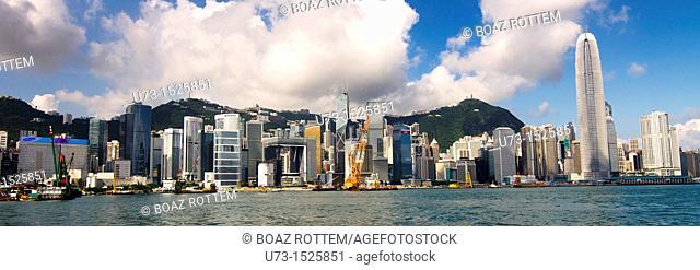 Panoramic view of Hong Kong island and Victoria harbor