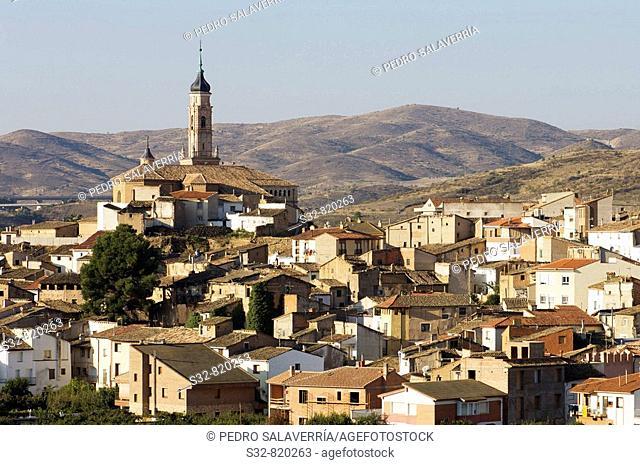 Ateca; destaca torre mudejar (XVI) de Iglesia de Santa Mari'a (XIII - XIV); Comarca Comunidad de Calatayud; Zaragoza; Arago'n; Espan~a