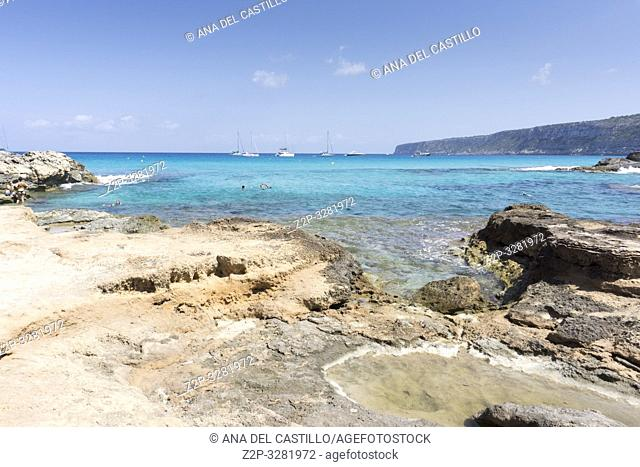 Turquoise water in Formentera Es Calo de San Agusti beach Balearic islands Spain on September 5, 2018