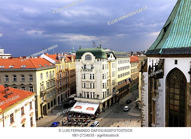 Jakubske Nam square and St James church overview. Aerial . Brno, Czech Republic