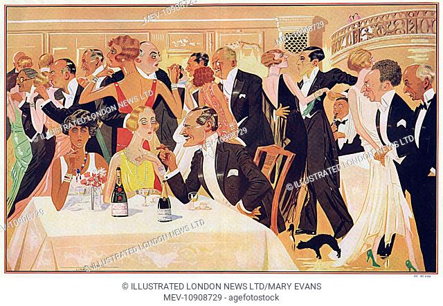 An impression by Mundo of the dance floor at the Embassy Club at supper-time with a number of well-known people. On the left of the dance floor is Sir Francis...