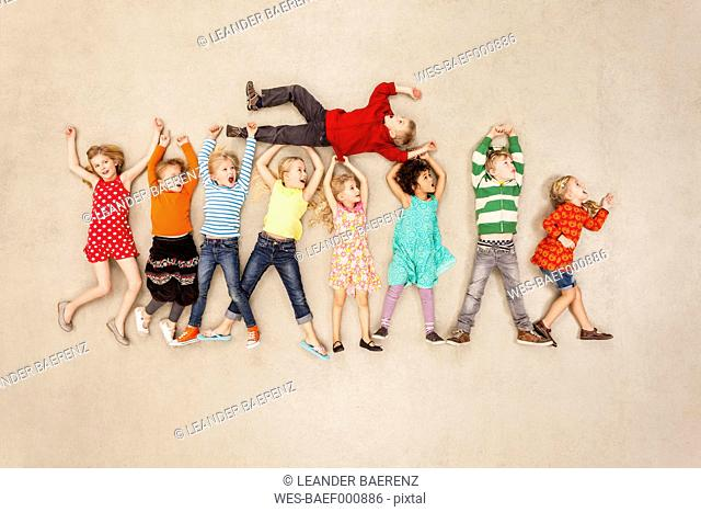 Children messing around happily