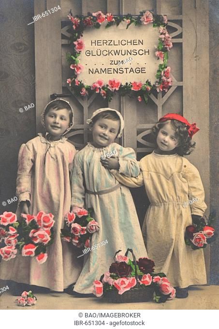 Historic photograph of three children used as a congratulations card celebrating a name day, taken ca. 1899
