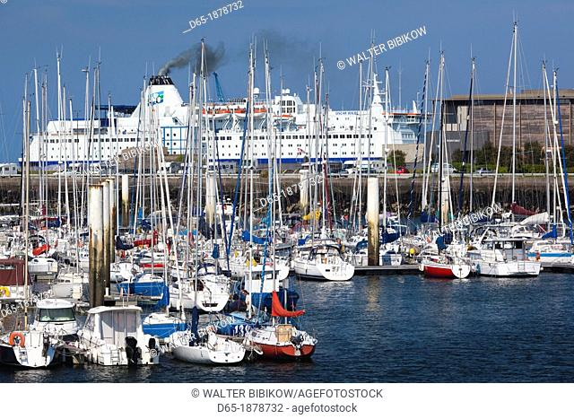 France, Normandy Region, Manche Department, Cherbourg-Octeville, Port de Plaissance, yacht marina with English Channel ferry