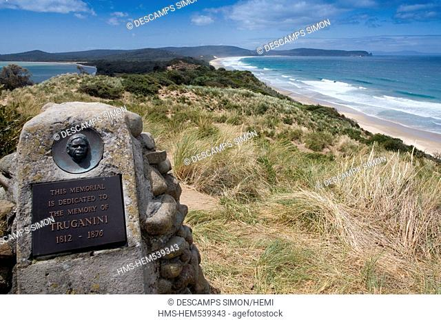 Australia, Tasmania, Bruny Island, memorial dedicated to the Aboriginal resistant Truganini Princess, killed by the settlers in 19th century