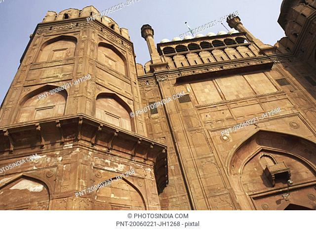 Low angle view of a fort, Red Fort, Delhi, India