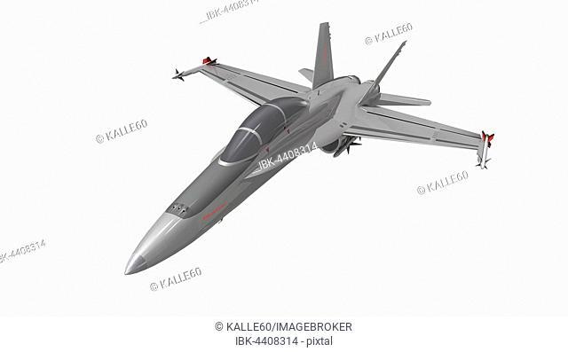 Portrait of military jet fighter plane