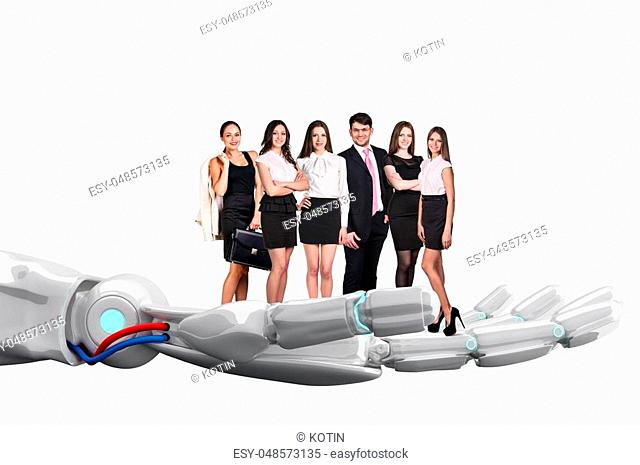 White robot hand holds group of business people. Future technology support concept. 3d rendering