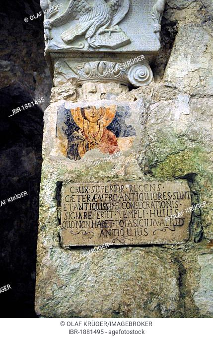 Fresco and tablet, catacombs, Syracuse, Sicily, Italy, Europe
